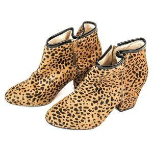 Shoemint Esther Ponyhair Cheetah Print Booties 9.5